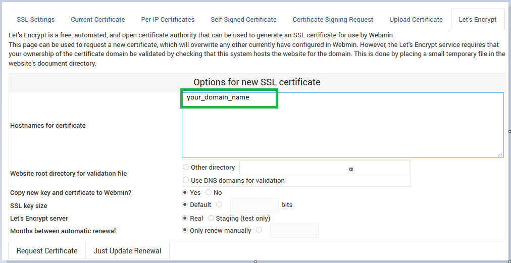Add Let\'s Encrypt Certificate to Webmin – HostFav Blog