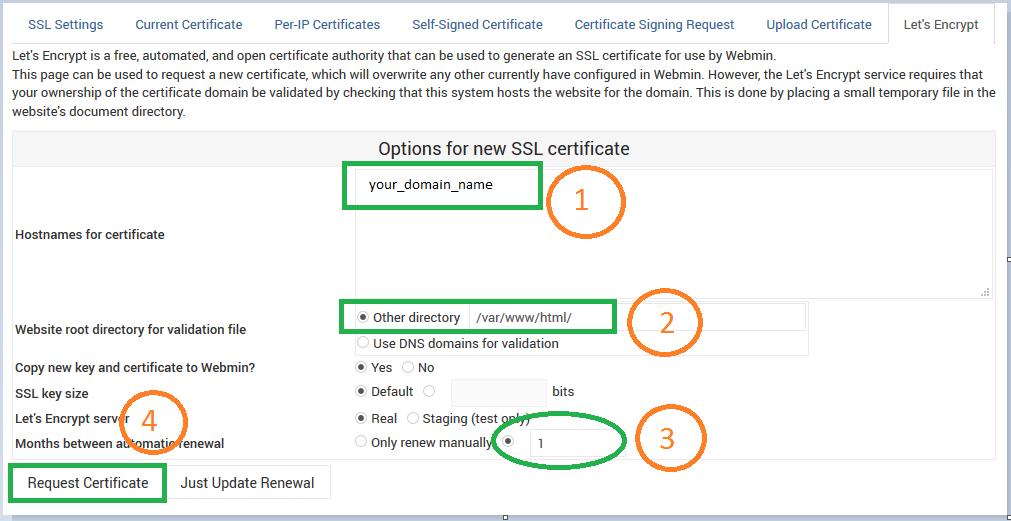 Add Let's Encrypt Certificate to Webmin – HostFav Blog